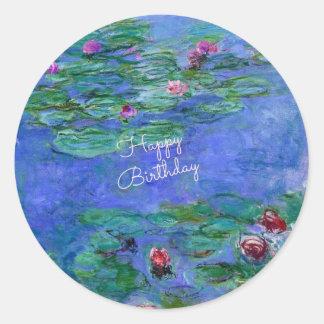 Happy Birthday: Monet's Water Lilies Round Sticker