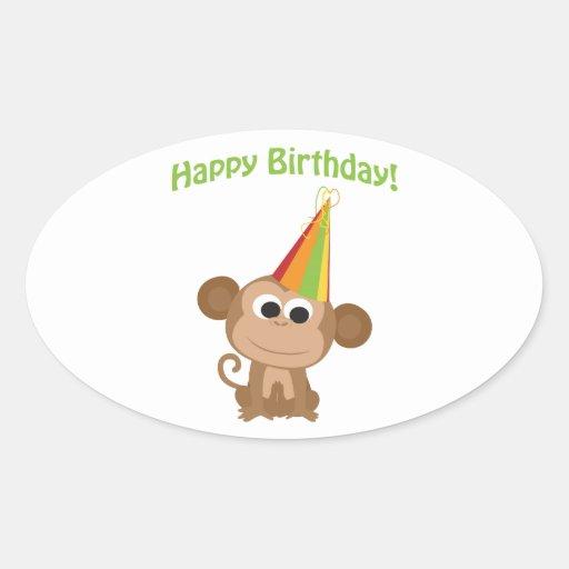 Happy Birthday! Monkey Oval Sticker