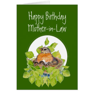 Happy Birthday Mother-in-Law Robin on Nest Card