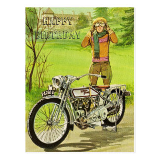 HAPPY BIRTHDAY MOTORCYCLE POSTCARD