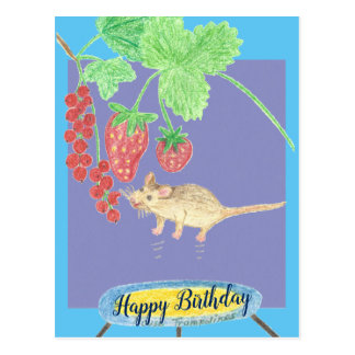 Happy Birthday - Mouse on a Trampoline Postcard