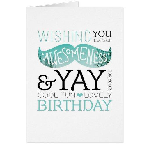 happy birthday moustache fun typography card zazzle