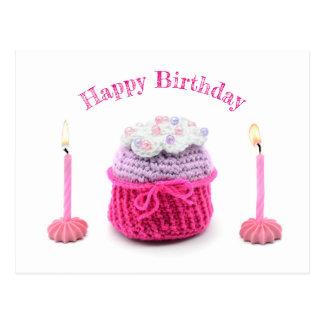 Happy Birthday! Muffin brennenen candles. Crochet Postcard