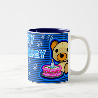 Happy birthday mug from blue teddy bear