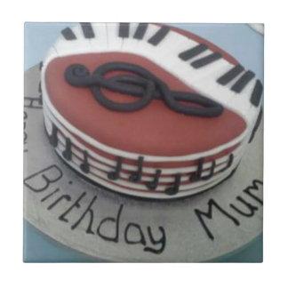 Happy birthday mum cake small square tile