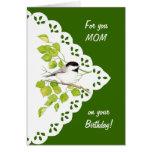Happy Birthday Mum Chickadee, Bird & Lace Greeting Card