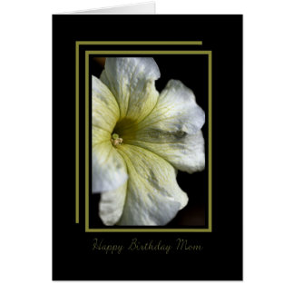Happy Birthday Mum - White Flower on Black Greeting Card