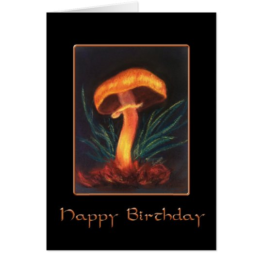 Happy Birthday Mushroom on Black Card