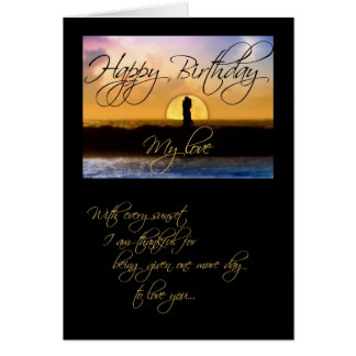 Happy Birthday My Love Sunset Couple Card