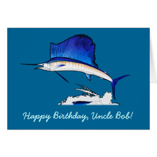 Happy Birthday Name Customizable with Sailfish Card