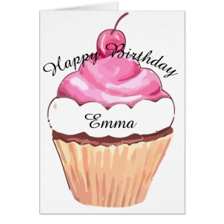 Happy Birthday - Name Template Cupcake Card