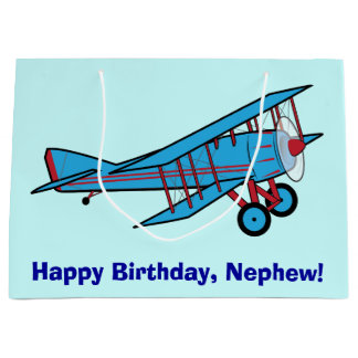 Happy Birthday Nephew with Airplane Large Gift Bag