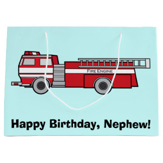 Happy Birthday Nephew with Fire Engine Large Gift Bag