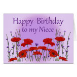 Happy Birthday Niece, Field of Poppies Greeting Card