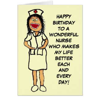 Happy Birthday Nurse Cartoon Card