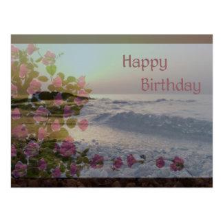 Happy Birthday - Ocean & Bougainvillea flowers Postcard