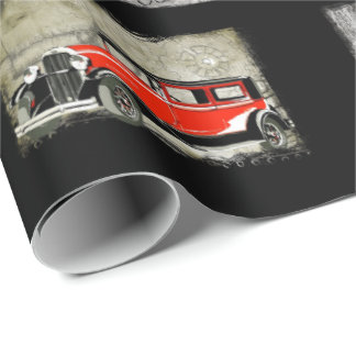 Happy Birthday Old Chap VIntage Cars Wrapping Paper