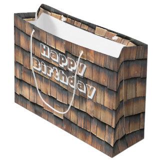 """Happy Birthday"" on Aged Wooden Shingles BG Large Gift Bag"