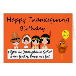 Happy Birthday On Thanksgiving Greeting Card