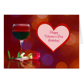 Happy Birthday on Valentine's Day Card