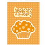 happy birthday orange cupcake postcard