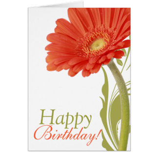 Happy Birthday | Orange Gerbera Daisy Greeting Card