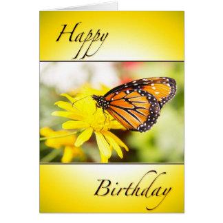 Happy Birthday Orange Monarch Butterfly Card