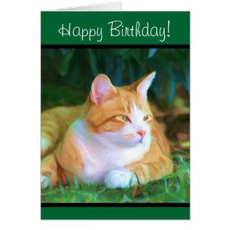 Happy Birthday Orange Tabby Cat greeting card