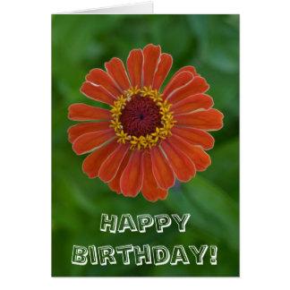 Happy Birthday Orange Zinnia flower blossom Greeting Card