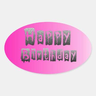 Happy Birthday Oval Sticker