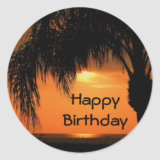 Happy Birthday, palm tree sunset Classic Round Sticker