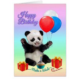 Happy birthday panda cards invitations zazzle happy birthday panda card bookmarktalkfo Choice Image