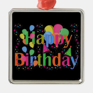 Happy Birthday Party Balloons Silver-Colored Square Decoration