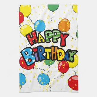 happy birthday party balloons tea towel