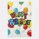 happy birthday party balloons towels