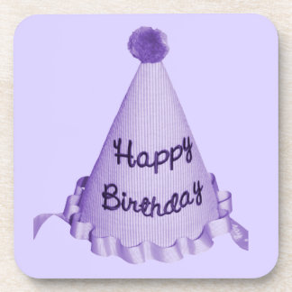 Happy Birthday Party Hat in Purple Drink Coasters