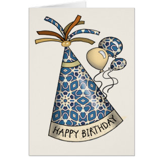 Happy Birthday Party Hats Greeting Card