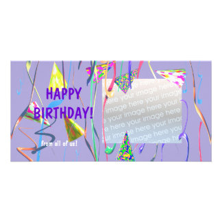 Happy Birthday Party Hats Picture Card