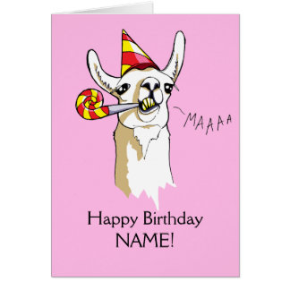 Happy Birthday Party Llama Card Customise Template