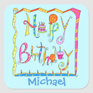 Happy Birthday Party Name Personalised Yellow Square Sticker