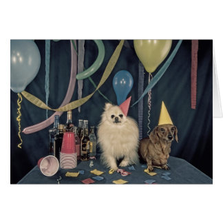 Happy Birthday Party with Dogs and Drinks Greeting Card