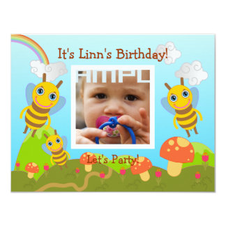 Happy Birthday Party with friendly bees 4.25x5.5 Paper Invitation Card