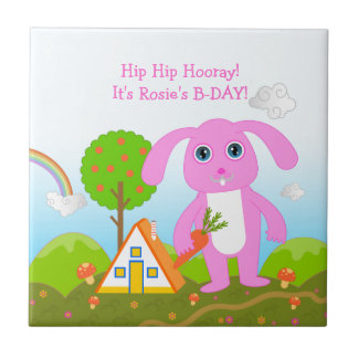 Happy Birthday party with the pink rabbit Small Square Tile