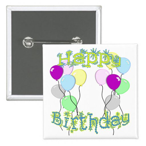 Happy Birthday - Pastel D6 Button