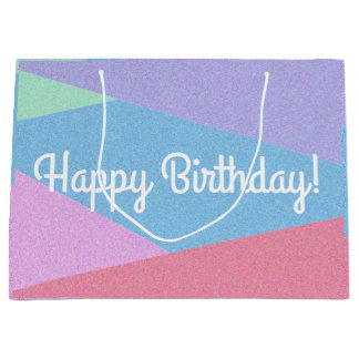 Happy Birthday Pastel Design Print Birthday Bag