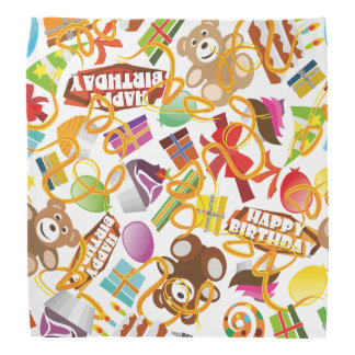 Happy Birthday Pattern Illustration Bandana