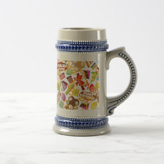 Happy Birthday Pattern Illustration Beer Stein