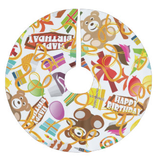 Happy Birthday Pattern Illustration Brushed Polyester Tree Skirt