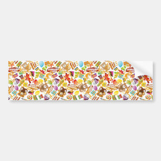 Happy Birthday Pattern Illustration Bumper Sticker