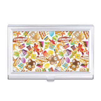 Happy Birthday Pattern Illustration Business Card Holder